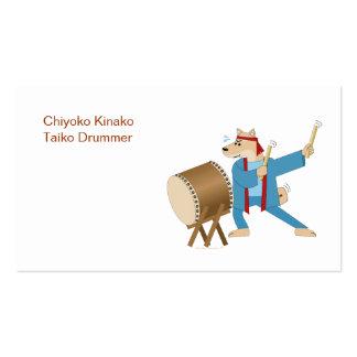 Batería de Taiko del perro del dibujo animado del  Tarjetas De Visita