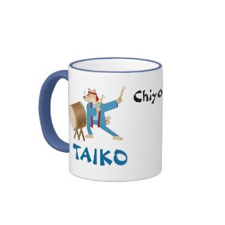Batería de Taiko del perro del dibujo animado del Taza De Dos Colores