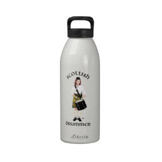 Batería escocés - falda escocesa amarilla botella de agua reutilizable