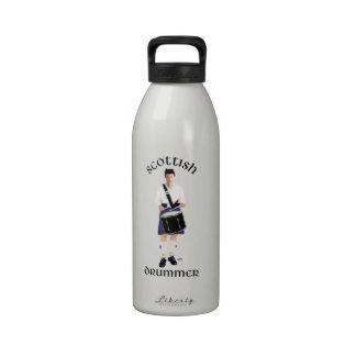 Batería escocés - falda escocesa azul botella de agua