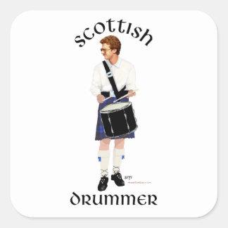 Batería escocés - falda escocesa azul calcomanías cuadradas personalizadas