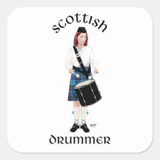 Batería escocés - falda escocesa azul pegatina cuadradas personalizada