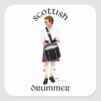 Batería escocés - falda escocesa púrpura pegatinas cuadradas personalizadas