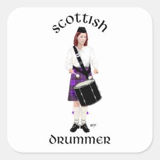 Batería escocés - falda escocesa púrpura calcomanías cuadradas