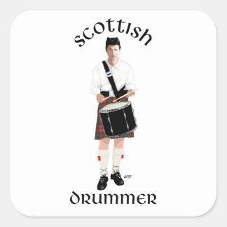 Batería escocés - falda escocesa roja pegatinas cuadradases