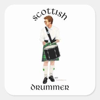 Batería escocés - falda escocesa verde calcomania cuadrada personalizada