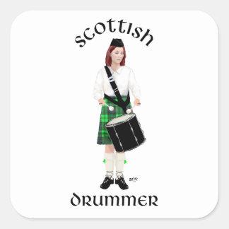 Batería escocés - falda escocesa verde calcomanía cuadradase