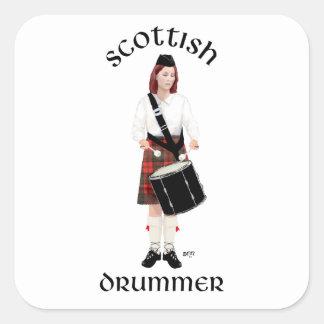 Batería escocés - hembra calcomanías cuadradass