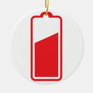 Batería roja semillena adorno navideño redondo de cerámica