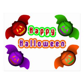 Bates de béisbol coloridos de Halloween Tarjetas Postales