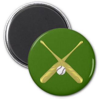 Bates de béisbol cruzados con el fondo del ~edit imán redondo 5 cm