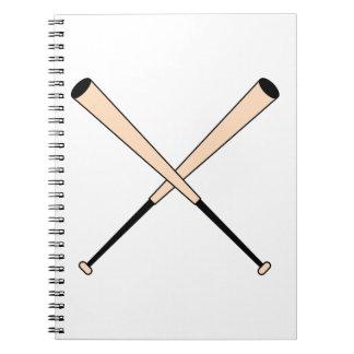 Bates de béisbol cruzados libros de apuntes con espiral