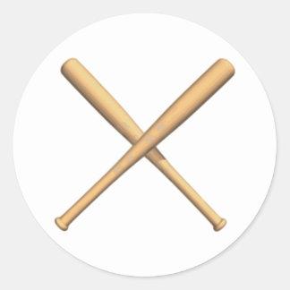 Bates de béisbol cruzados pegatina redonda
