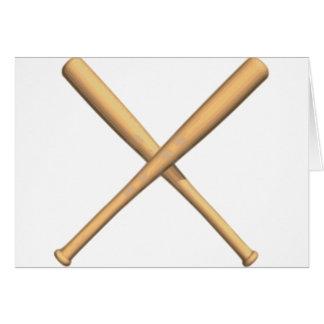Bates de béisbol cruzados tarjeta de felicitación