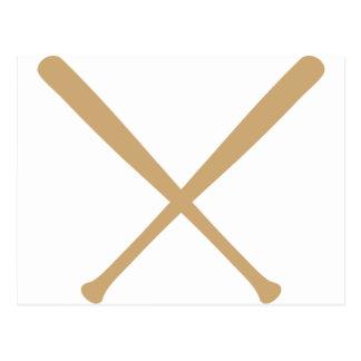 bates de béisbol cruzados postal