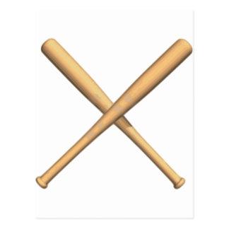Bates de béisbol cruzados postales
