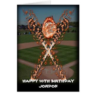 Bates de béisbol en el fuego tarjeta de felicitación