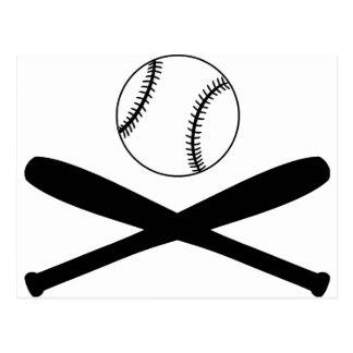 Bates de béisbol y bola postal