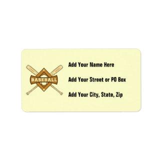 Bates de béisbol y camisetas y regalos de la bola etiqueta de dirección