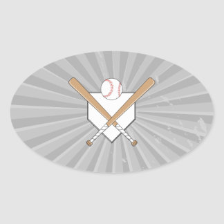 bates de béisbol y gráfico de la meta pegatina ovalada