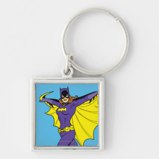 Batgirl Silver-Colored Square Keychain