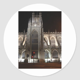 Bath Abbey at night Round Stickers