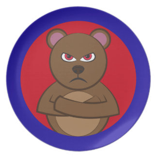 Bath angry bear dinner plates