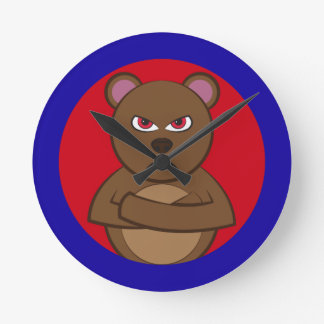 Bath angry bear round wallclocks
