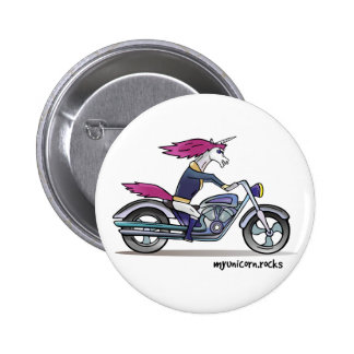 Bath ASS unicorn on motorcycle - bang-hard unicorn Pinback Button