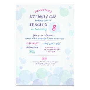 Bubbles birthday invitations zazzle bath bomb soap making bubble birthday party invite filmwisefo