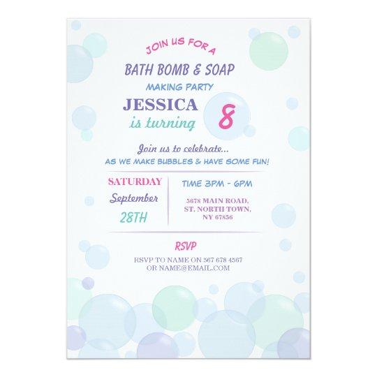 bath bomb soap making bubble birthday party invite zazzle com