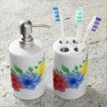 bath hands soap brushes soap dispenser & toothbrush holder
