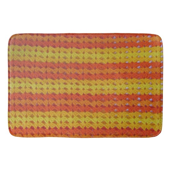 Bath Mat - Orange Afghan Pattern