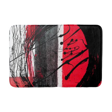 Bath Mat- Red, Black & White Abstract Design Bath Mat