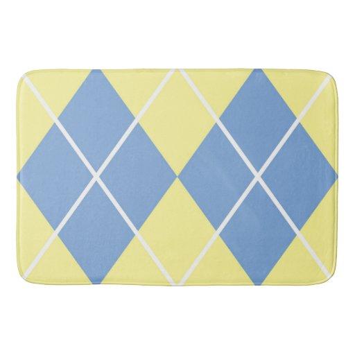 Bath Mat Yellow And Blue Plaid Diamond Pattern Bath Mat