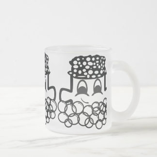Bath puzzle cup 10 oz frosted glass coffee mug