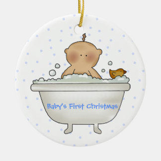 Bath Time Baby Boy's First Christmas ornament