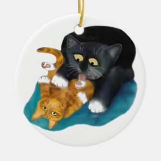 Bath Time for Tiger Kitten Ceramic Ornament
