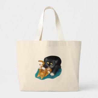 Bath Time for Tiger Kitten Large Tote Bag