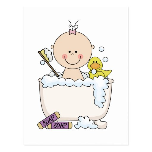 Bath Time Girl Tshirts and Gifts Post Card