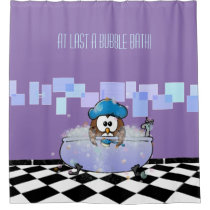 bath time owl - shower curtain
