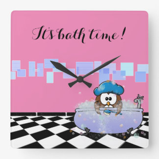 bath time owl square wall clock