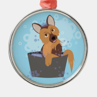 Bath Time Puppy Metal Ornament