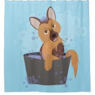 Bath Time Puppy Shower Curtain