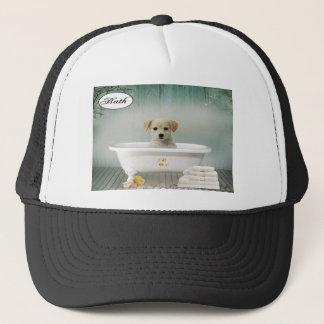 Bath time puppy trucker hat