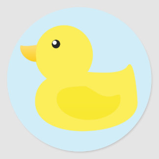 Bath Time Yellow Duck Classic Round Sticker