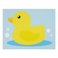 Bath Time Yellow Duck Posters