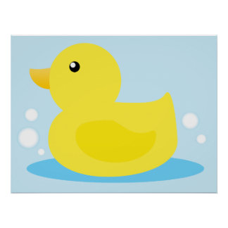 Bath Time Yellow Duck Poster