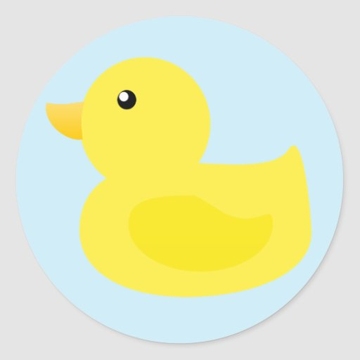 Bath Time Yellow Duck Round Stickers