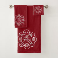 Bath Towel Sets with Firefighter Maltese Cross